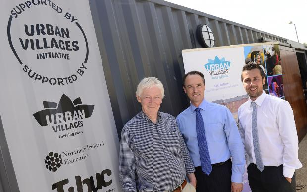Pictured L-R: Maurice Kinkead, Mark Browne and Harry Moore, DfC, at the launch of the EastSide Container Park at EastSide Visitors Centre & CS Lewis Square.