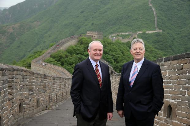 Former First Minister (Peter Robinson) and deputy First Minister (Martin McGuinness) on the Great Wall of China